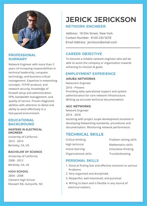 engineering resume format template free basic network engineer resume and cv template in
