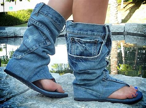 denim shoes ferociously funky sandals made from vintage