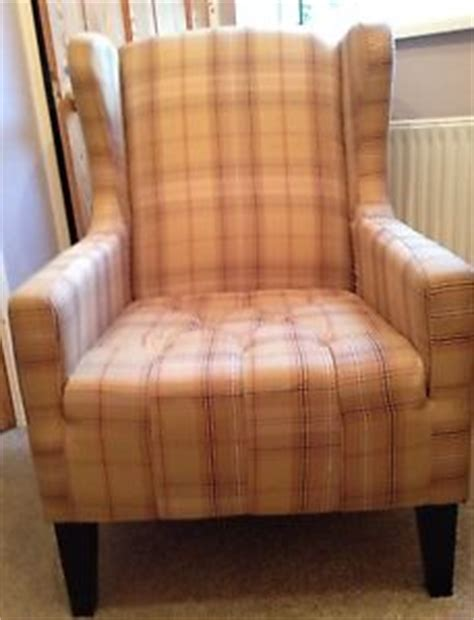High Back Wing Chairs For Living Room by High Back Wing Chair Tartan Check Yellow Beige Fabric