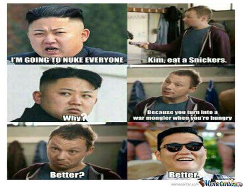 Kim Jong Un Snickers Meme - kim jong un eats a snickers turns into gangnam style s