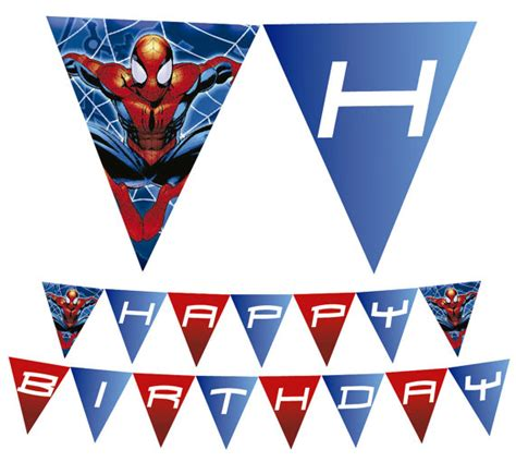 Printable Spiderman Birthday Banner | spiderman printable happy birthday banner