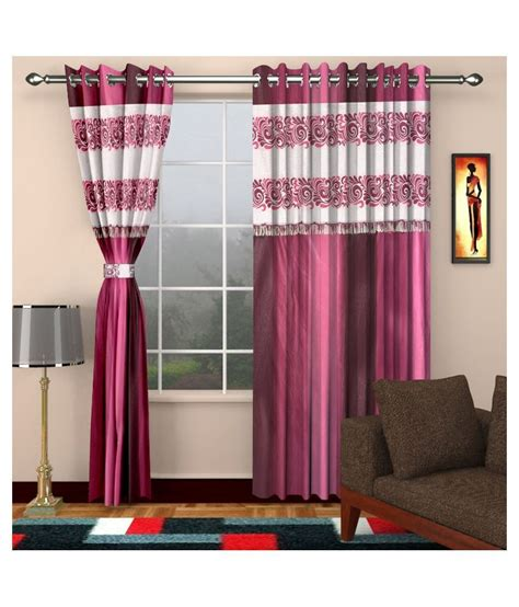 dizen set of 2 door eyelet curtain printed pink buy