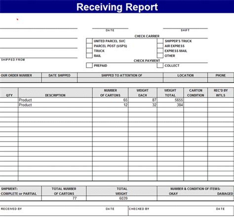 receiving report template receiving report related excel templates for