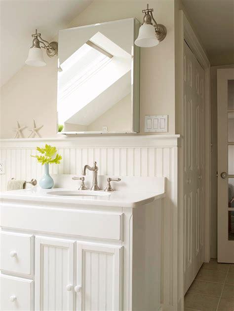 Lovely beachy cottage bathroom design with sloped ceiling light mocha