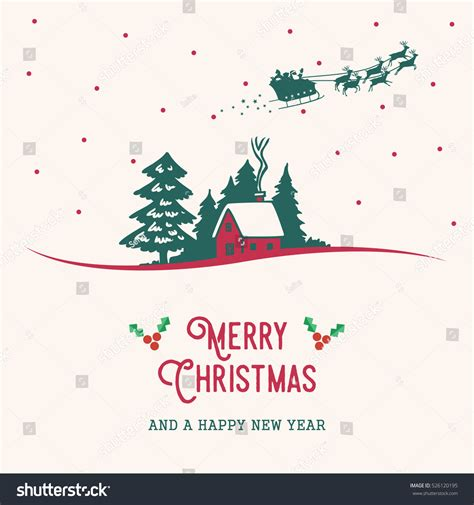 christmas cards shutterstock merry cards illustration house santa stock vector 526120195