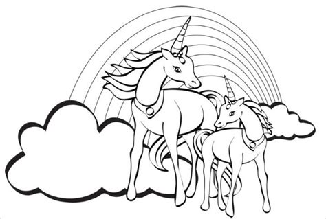 unicorn with rainbow coloring page 9 rainbow coloring pages jpg ai illustrator download