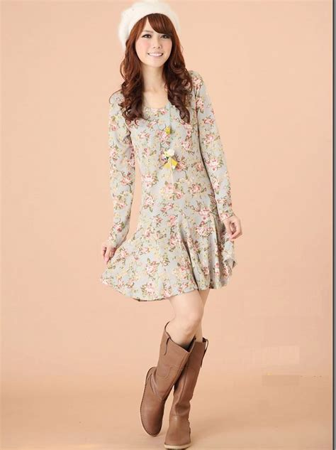 Korean Style Flower Dress sweet korean style floral printing princess sleeve dress