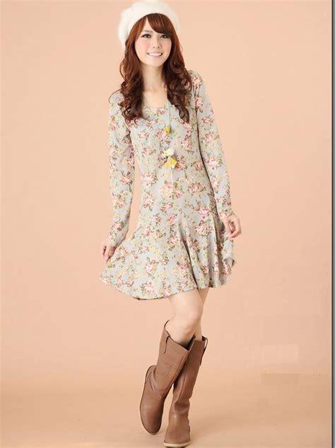 Fashion Korea Anting Drop Blue 1 sweet korean style floral printing princess sleeve dress