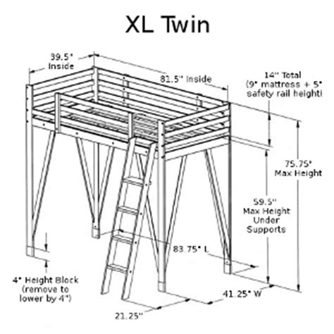 loft bed plans twin xl  woodworking