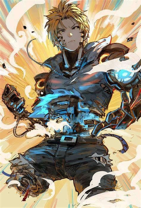 wallpaper anime opm genos fanart onepunchman