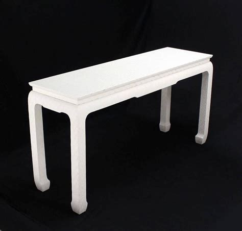 white lacquer sofa table grass cloth covered white lacquer console sofa table by