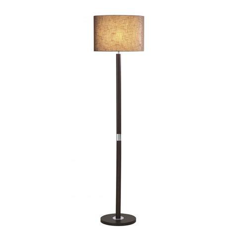 Floor Standing Lights by Wooden Floor Standing L With Chocolate Linen Shade