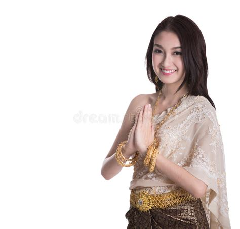 Welcome Style It Less by Thai In Vintage Original Thailand Attire Stock Photo