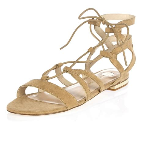 sandals lace up lyst river island beige caged lace up gladiator sandals