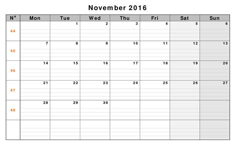 blank calendar november 2016