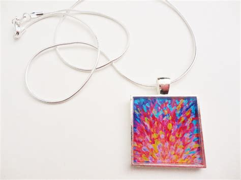 acrylic paint jewellery splash revisited resin necklace ooak abstract acrylic