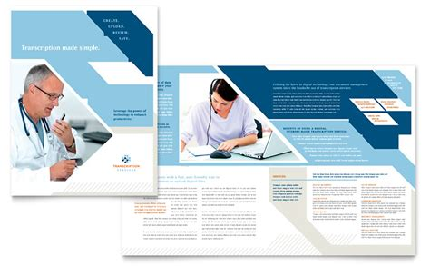 Medical Transcription Brochure Template Word Publisher Healthcare Brochure Templates Free