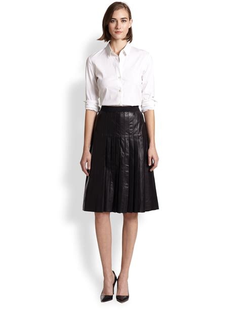vince pleated leather a line skirt in black lyst