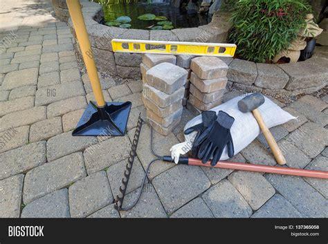 backyard design tools stone pavers backyard patio pond image photo bigstock
