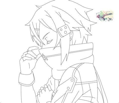 anime coloring pages sword art online sword art online s2 sinon lineart by zabullionaire on