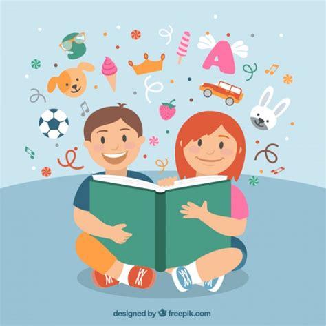imagenes de animales leyendo libros ni 241 os felices leyendo un libro descargar vectores gratis