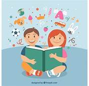 Happy Children Reading A Book Vector  Free Download