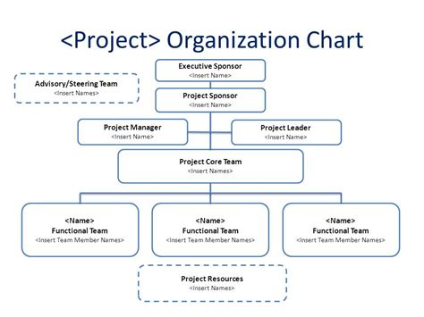 project organization chart sle chart templates project