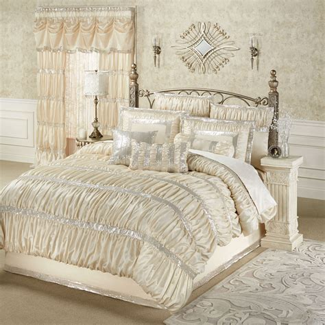 glamorous bedding radiance shirred faux silk comforter bedding