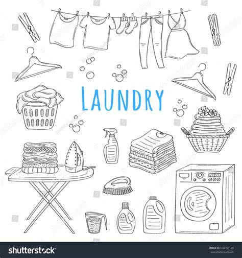 doodle service laundry service doodle icons stock vector
