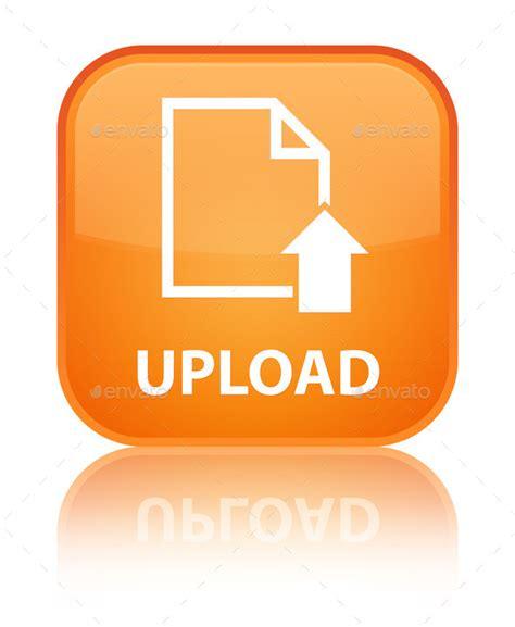 orange square button document file page  upload
