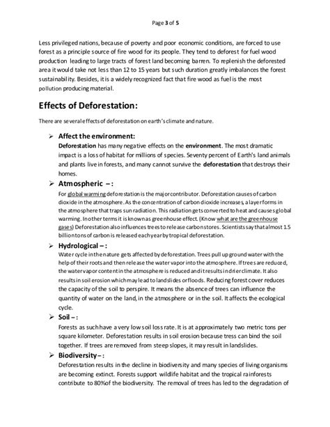 Causes And Effect Of Deforestation Essay essay causes and effects of deforestation free