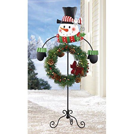 12 days of christmas metal yard art whimsical snowman wreath holder hanger stake decorative display metal yard