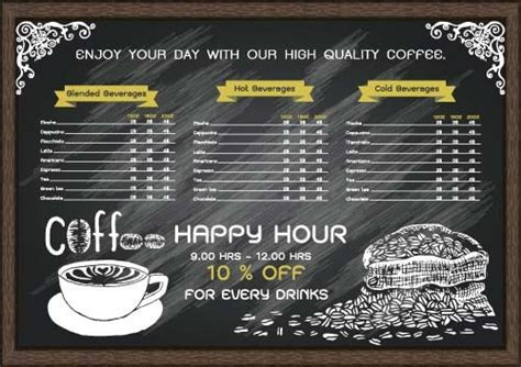 coffee price list template price list free vector 834 free vector for