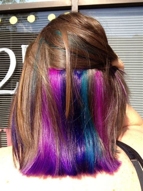 short hairstyles with peekaboo purple layer my hair magenta and pictures on pinterest