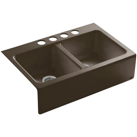 Kohler Kitchen Sinks Cast Iron Kohler Hawthorne Farmhouse Apron Front Cast Iron 33 In 4 Basin Kitchen Sink In