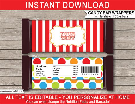 carnival hershey candy bar wrappers personalized candy bars