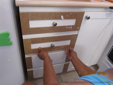 Scrapidoodlelicious: Beadboard Wallpaper in Kitchen Cabinets
