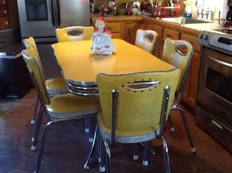 retro chrome table and chairs vintage yellow chrome and formica spartan table and 6