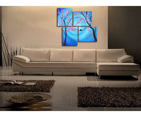 original home decor large blue painting cherry blossoms and love birds