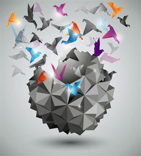 Three Dimensional Origami - freedom free vector graphic