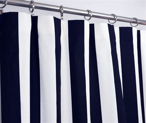 navy white striped curtains pair of rod pocket curtains in navy blue and white by