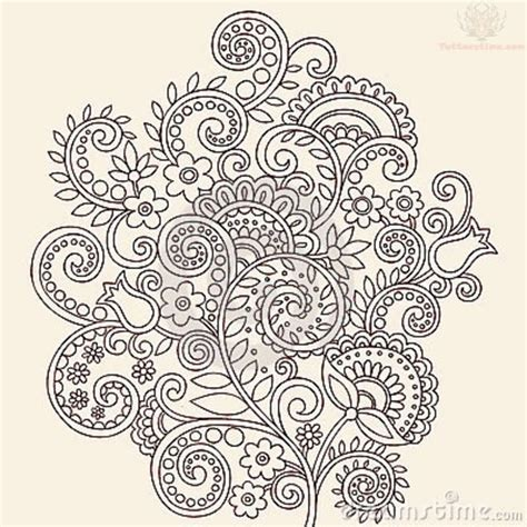paisley tattoo designs vine flowers paisley pattern design