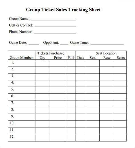 ticket sles template sle sales tracking 5 documents in word pdf