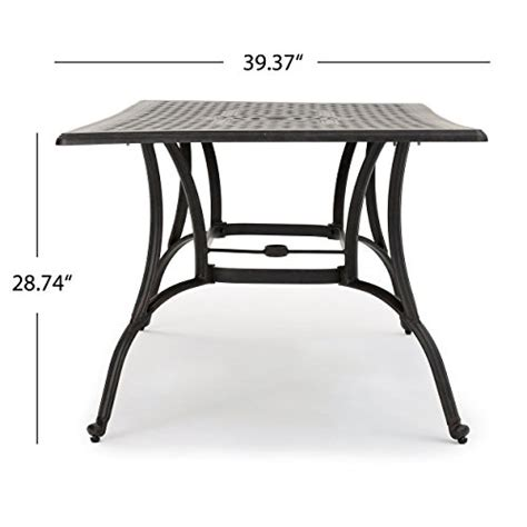 Patio Tables Only Fonzo Outdoor Bronze Cast Aluminum Rectangular Dining Table Only Green Ankles Gardening