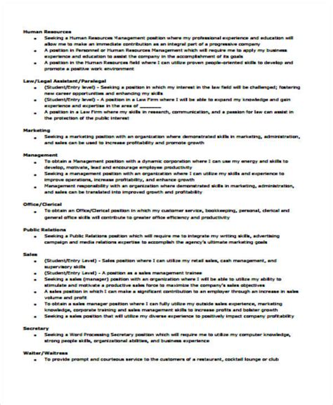 Resume Objective For Management by 6 Exle Resume Objectives Sle Templates