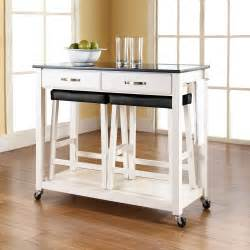 White Kitchen Cart Island by Crosley Furniture Solid Black Granite Top Kitchen Cart