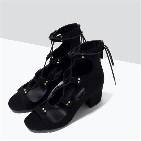 zara lace up sandals lace up high heeled sandals view all shoes