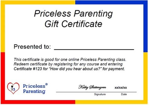 Give A Priceless Parenting Class Gift Certificate Priceless Parenting Parenting Class Certificate Of Completion Template