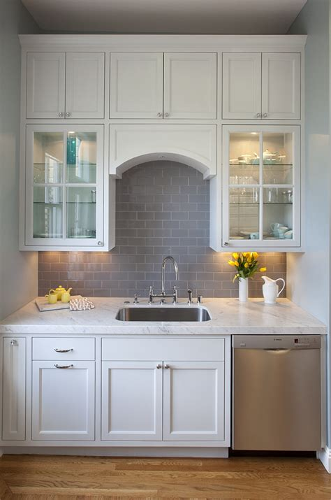 glass cabinets above kitchen sink design ideas gray subway tile backsplash bathroom contemporary with