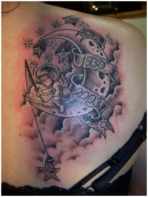Moon tattoo designs and meaning for girl on upper back tattoo design